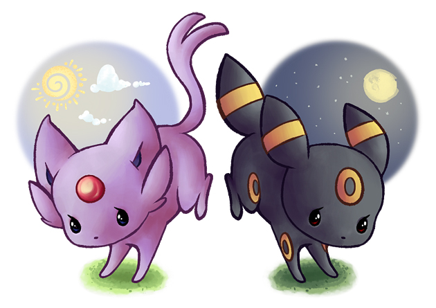 Espeon   Umbreon by lullabunEspeon And Umbreon Chibi