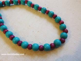 Tribal choker - blue and burgundy