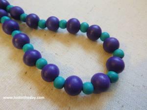 Purple and blue tribal choker