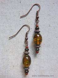 Golden glass beaded earrings