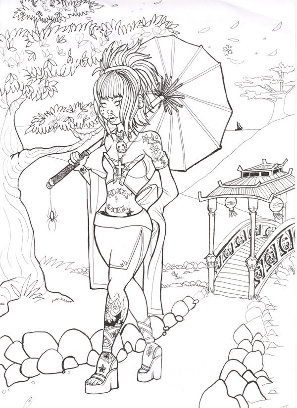 Japanese Tattoo Line Drawing : Line art quot asian tattoo lady by elexeo on deviantart