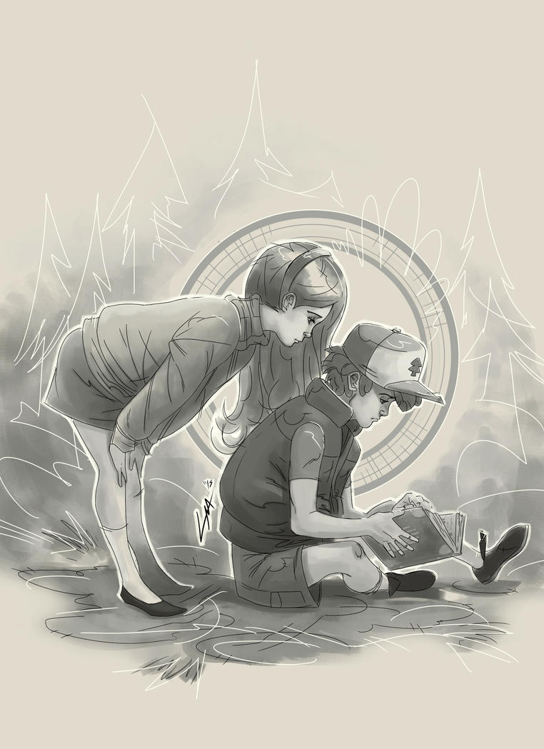 Mabel and Dipper ( Black and White Value) by Cassidy-Morgan