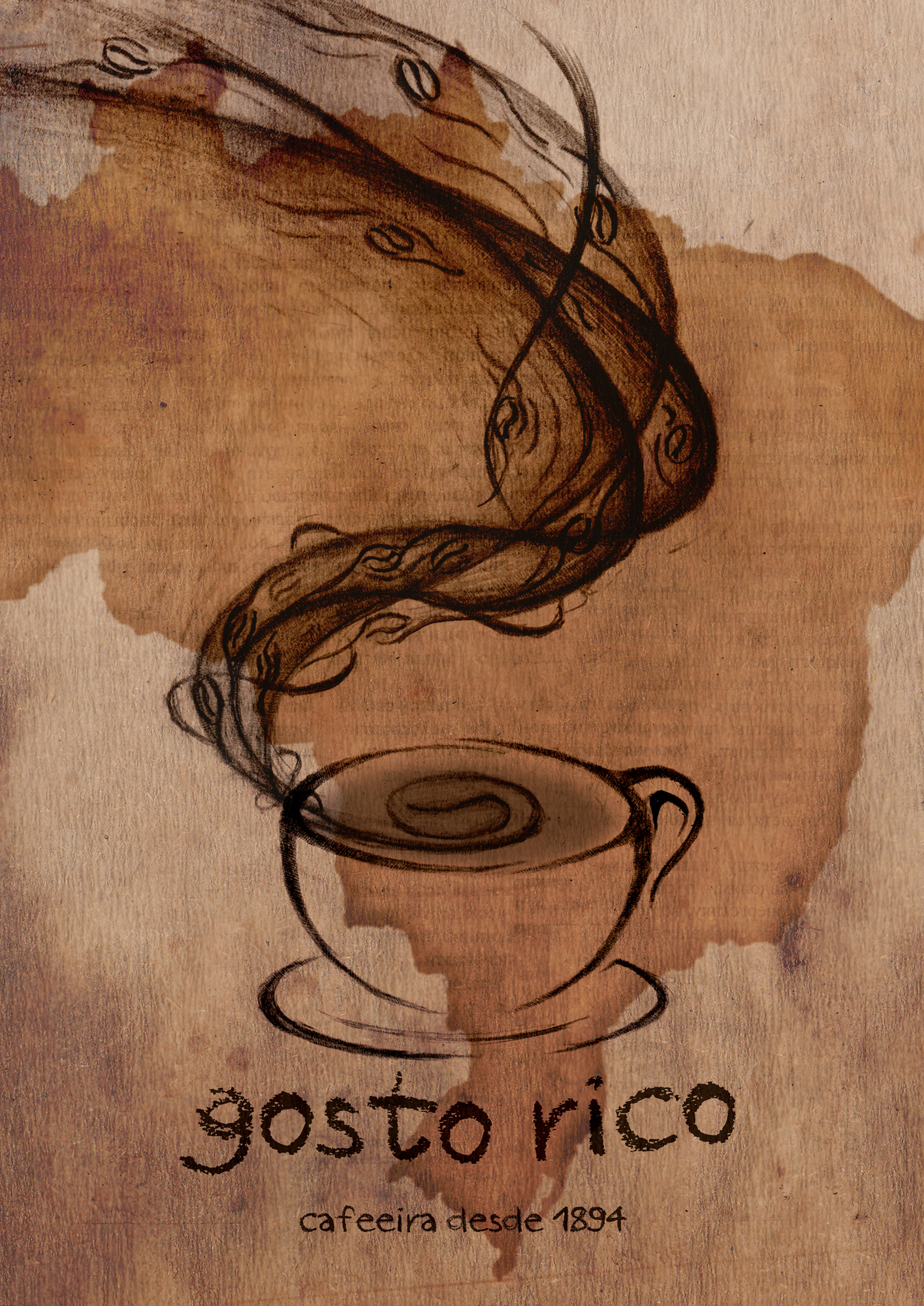Gosto rico coffee poster by zakaryan on deviantart for Coffee painting designs