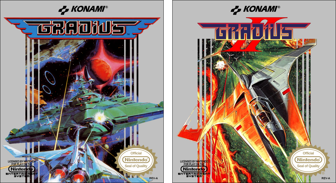 Gradius and Gradius II custom mini boxes front by vladictivo