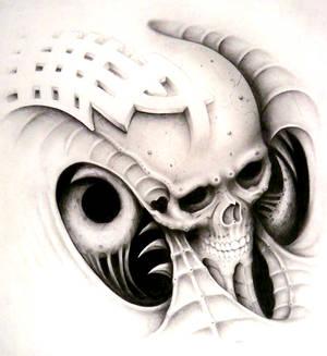 bio mech goofy design skull