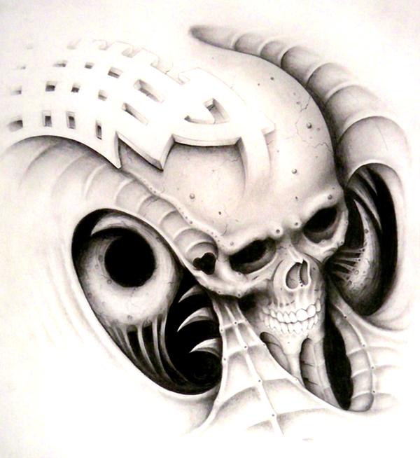 bio mech goofy design skull by Articidal