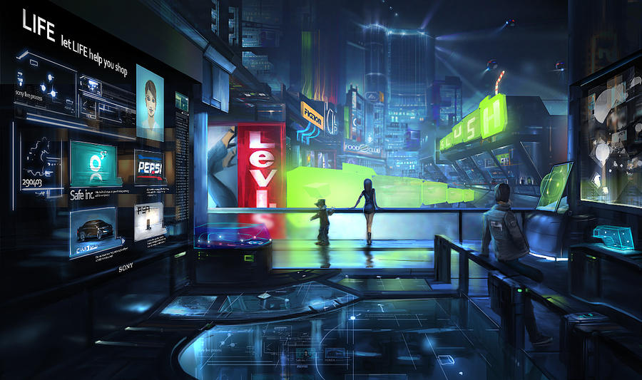 Future scenes    shopping mall by anasrist 25+ Beautiful Examples of Futuristic City Skylines Illustrations