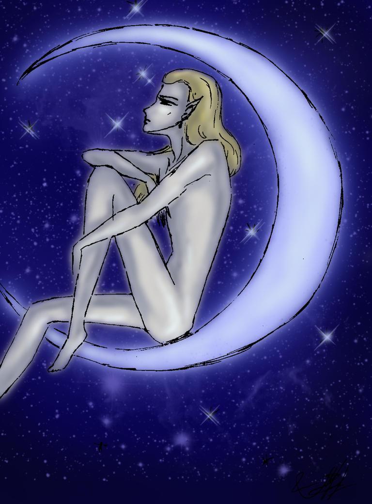 An elf on the Moon by Lirulin-yirth