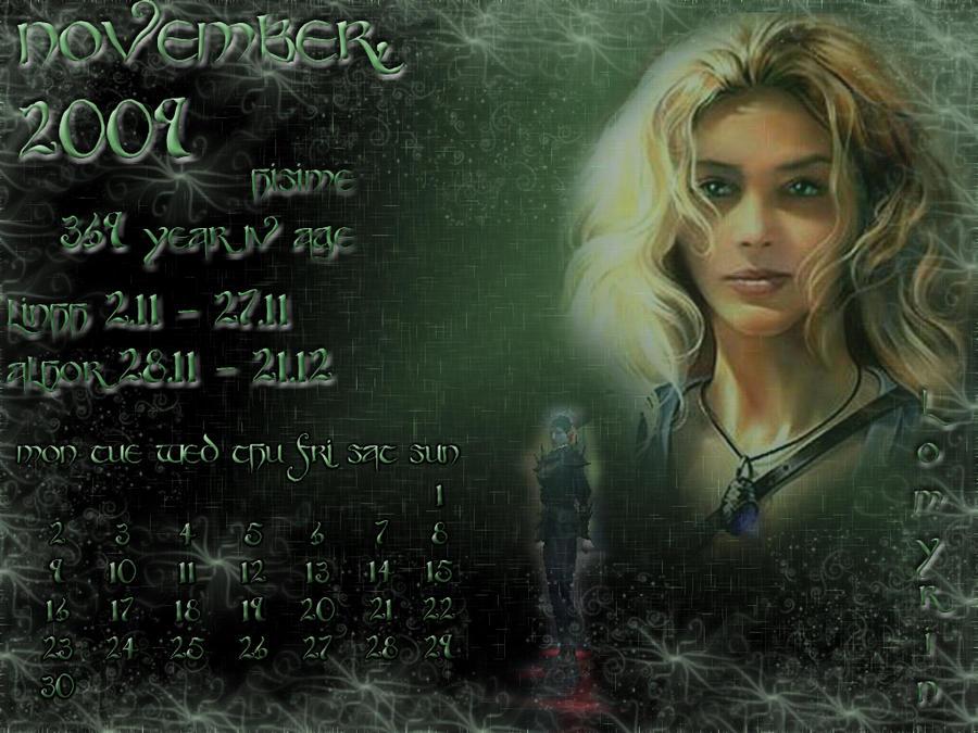 November 2009 desktop calendar by Lirulin-yirth