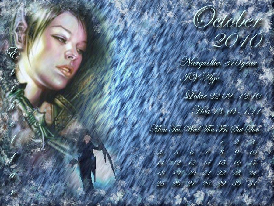 October 2010 desktop calendar by Lirulin-yirth