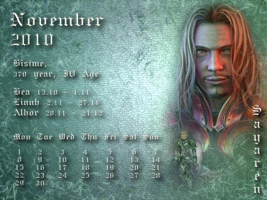 November 2010 desktop calendar by Lirulin-yirth