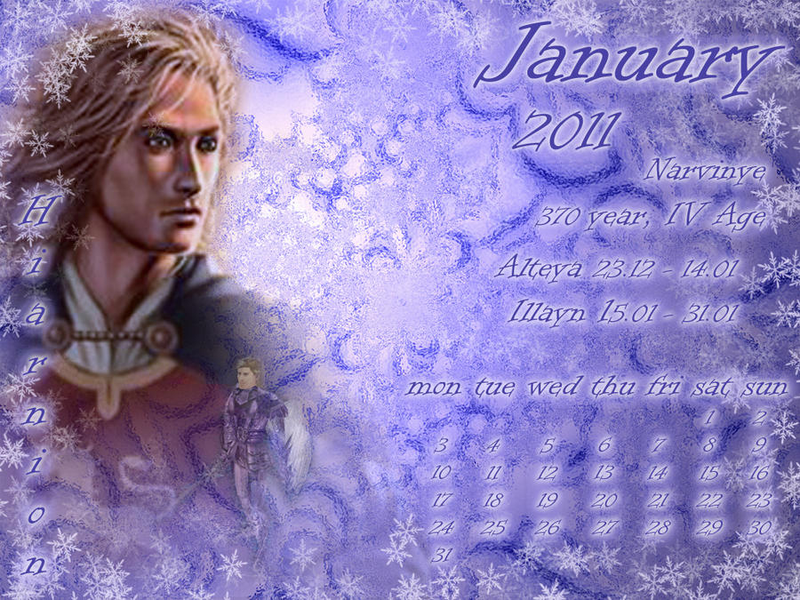 January 2011 desktop calendar by Lirulin-yirth