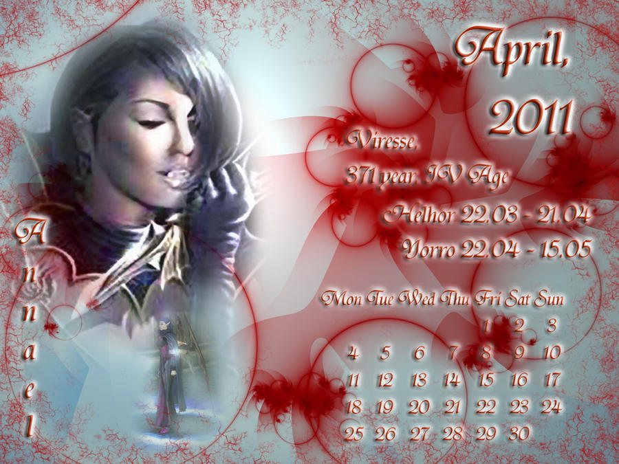 April 2011 desktop calendar by Lirulin-yirth