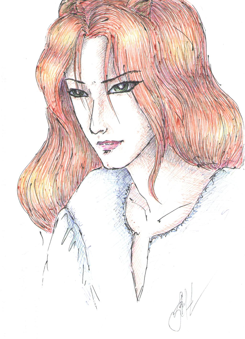 Horny redhead by Lirulin-yirth
