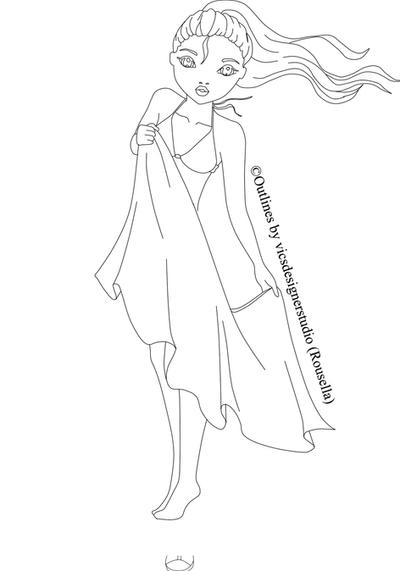Kleurplaat 70 Fashion Model Outline Templates Sketch Coloring Page