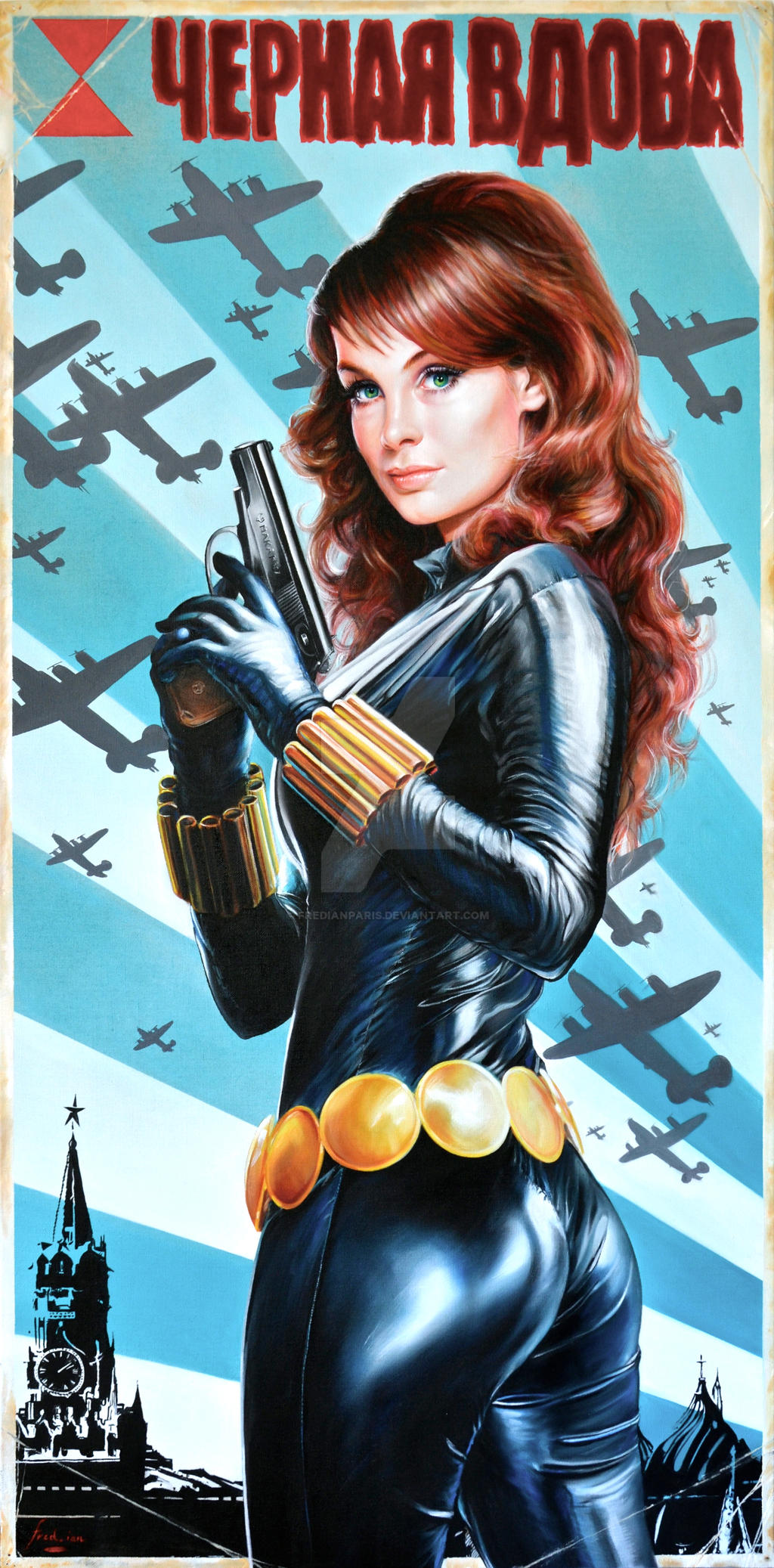 Black Widow Vintage Soviet Poster Portrait by FredIanParis on ...