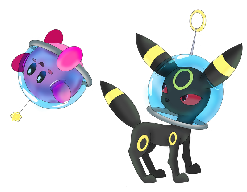 Umbreon and Kirby Crossover! by sarahlouiseghost