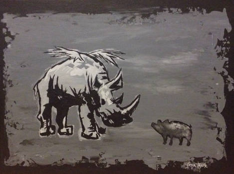 Rhino (original painting design for a mural)