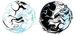 Tribal Ying Yang Bear and Wolf