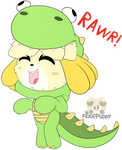 Isabelle is now a dinosaur