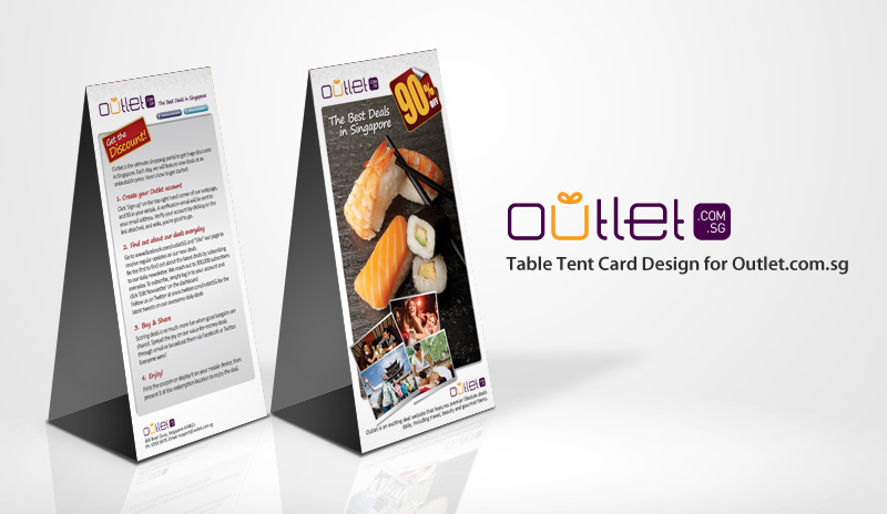 Table Tent Card Design for Outlet.com.sg by ahmadriomario on ...