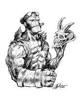 Hellboy with Skull by ARTofANT
