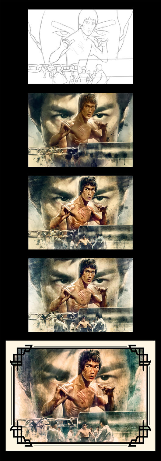 The Making Of Bruce Lee Illustration by ongchewpeng