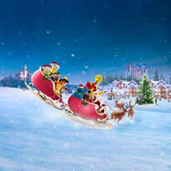 Merry Christmas - Santa and Reindeer