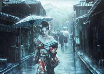 Geisha in the rain
