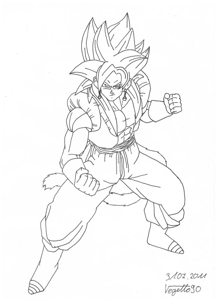 Gogetto SSJ4 Lineart by Vegetto90