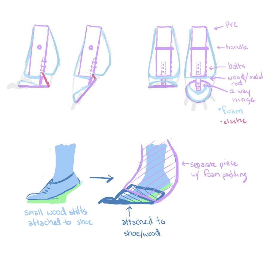 Toothless quad stilt/feet design by nooby-banana