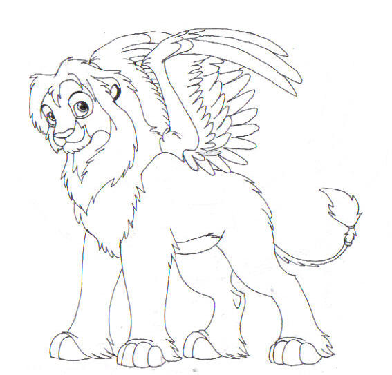 Winged Lion Coloring Pages Realistic