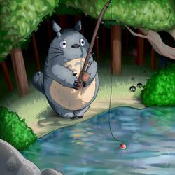 It's a Fishing Totoro