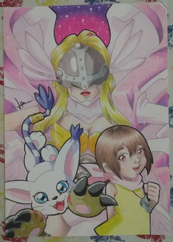 Hikari, Tailmon, Angewomon - Digimon Fanart