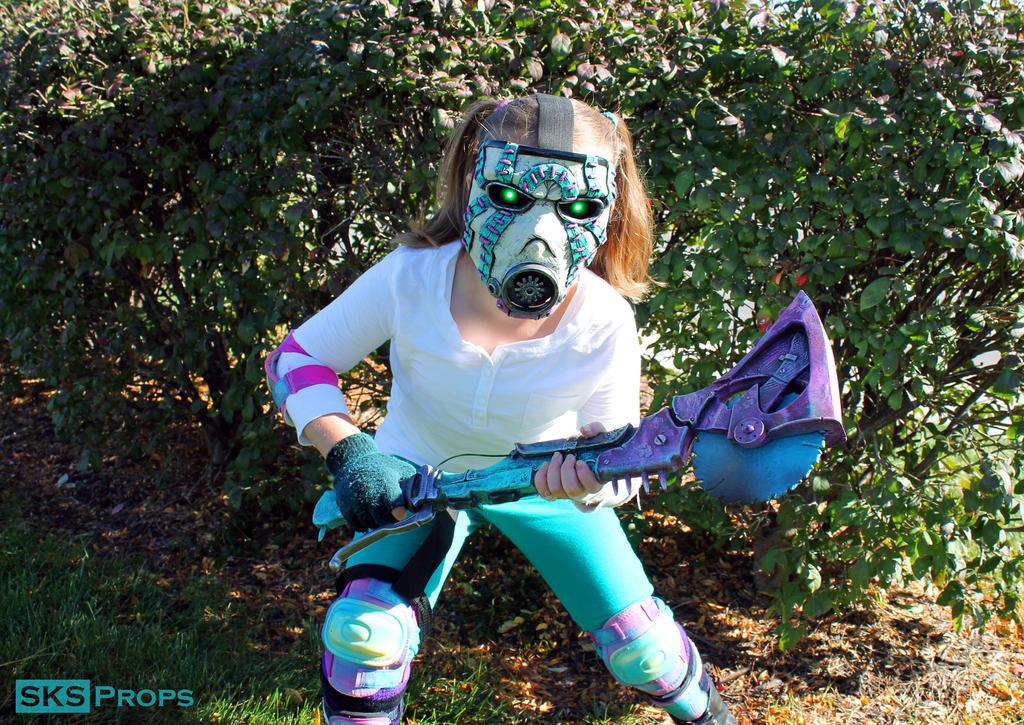 Custom Kids Pink / Teal Borderlands Psycho Cosplay by SKSProps