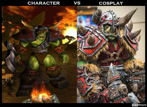 Warcraft Orc Character vs Cosplay SKS Props