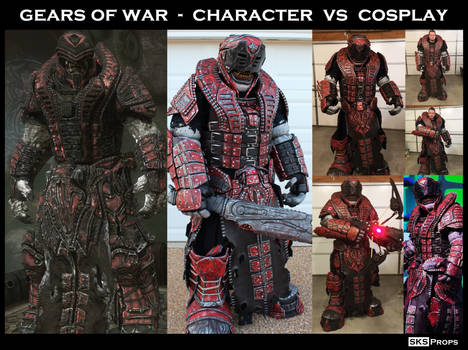 Gears of War Character vs Cosplay SKS Props Theron