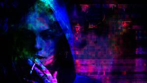 Cyberpunk Glitch: Smoking Girl