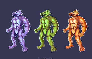Male Dragonborn in 3 colors