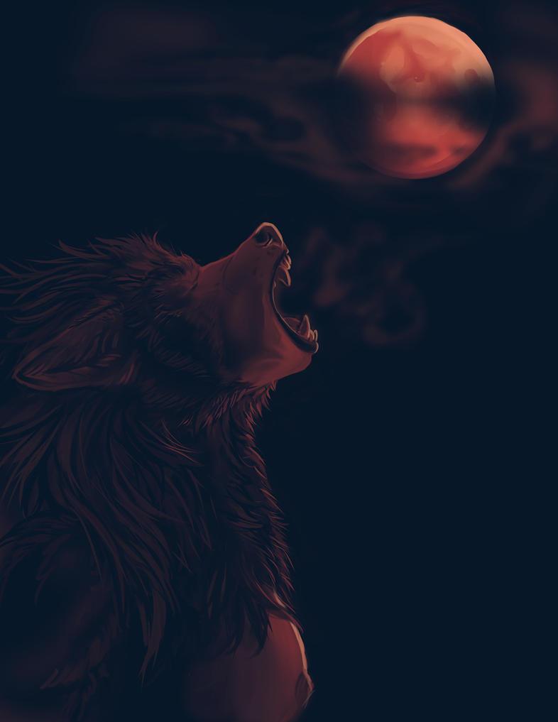[DrawAwerewolfDay]-Bloodmoon by Fringecrow