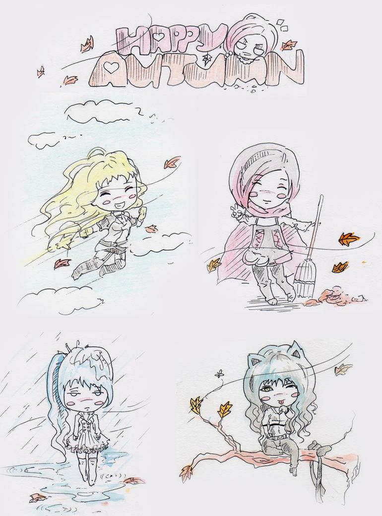 Team RWBY - Happy Autumn by kapiheartlilly