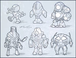 Robot Sketches by NateHallinanArt