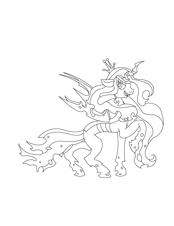 Queen chrysalis wip 3 by cataclasum on deviantart for Queen chrysalis coloring pages