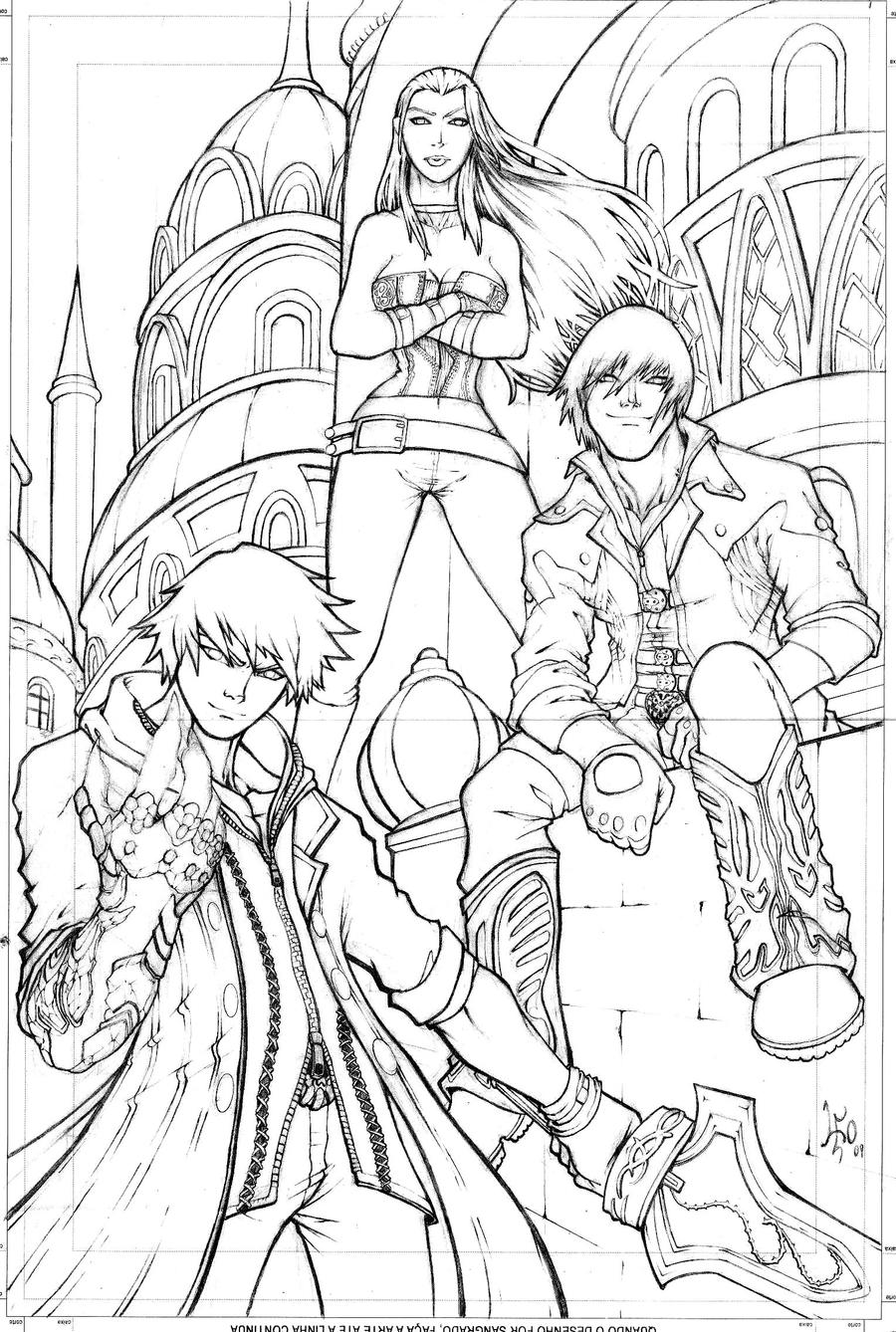 Nero Devil May Cry 4 Coloring Pages Sketch Coloring Page