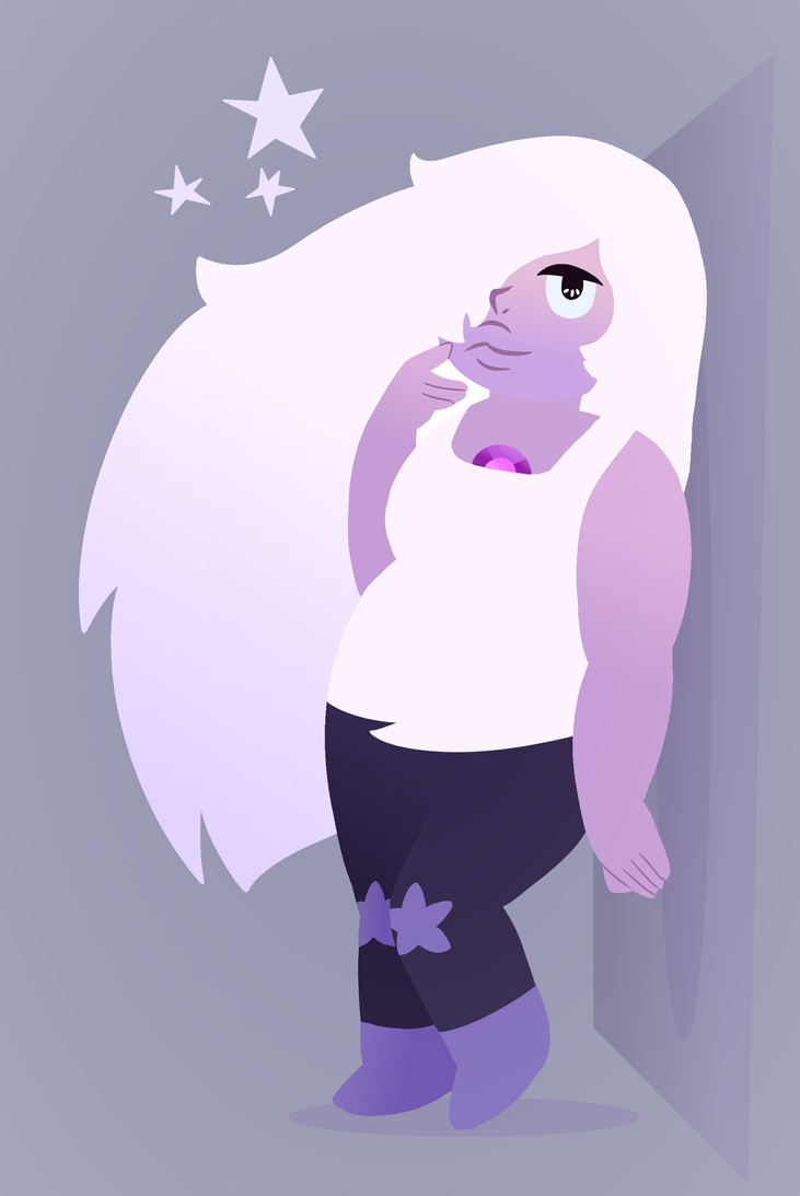 I watched a walk-through of Save the Light recently and I liked the game, but especially the art style. So here is Amethyst from Steven Universe as lineless art.