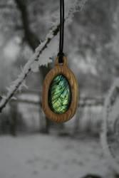 Hand carved Oak and Labradorite Pendant