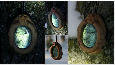 Pear Wood and Labradorite Sheela Na Gig Pendant
