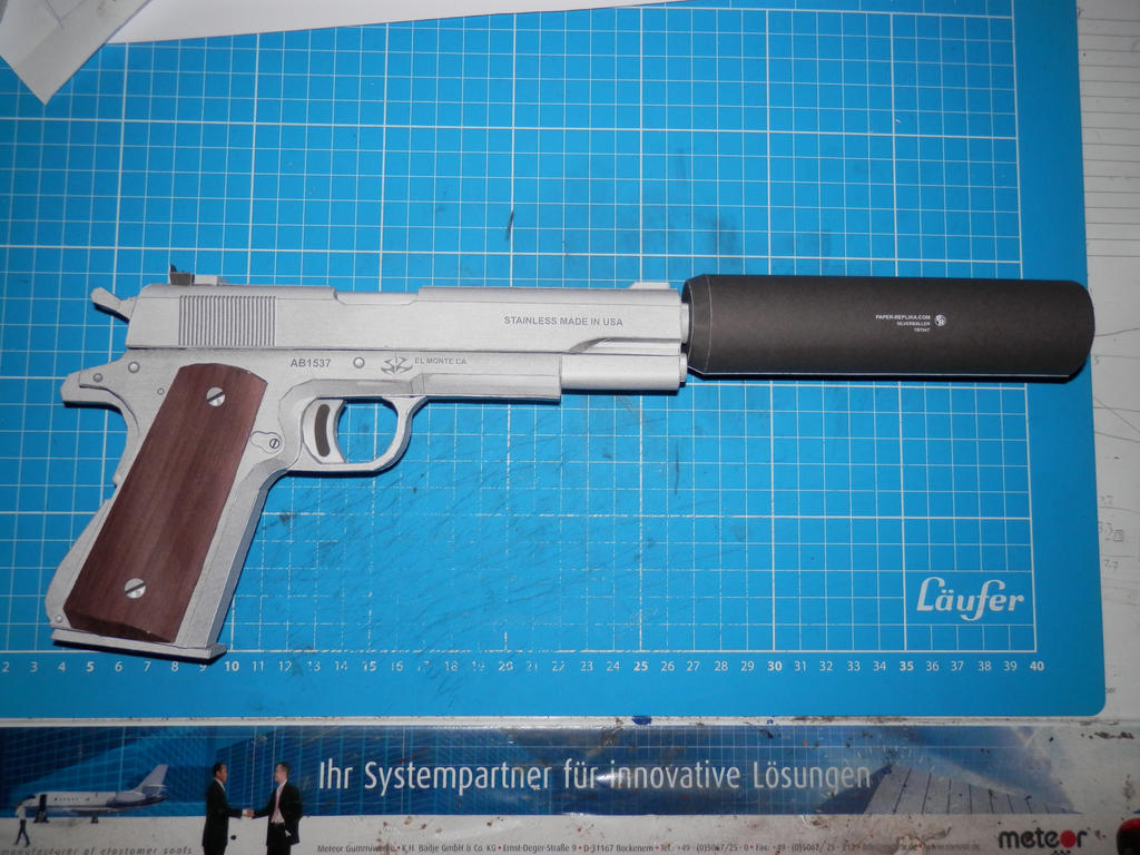 Hitman M1911 Silverballer Lifesize Papercraft By Thedetlef On Deviantart