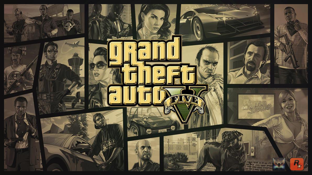 Grand theft auto v gold logo graphics visual arts for Gta v bedroom wallpaper