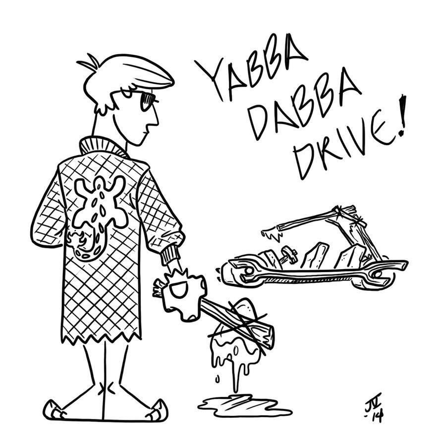 Inktober Day 23 - Yabba Dabba Drive by rivrav